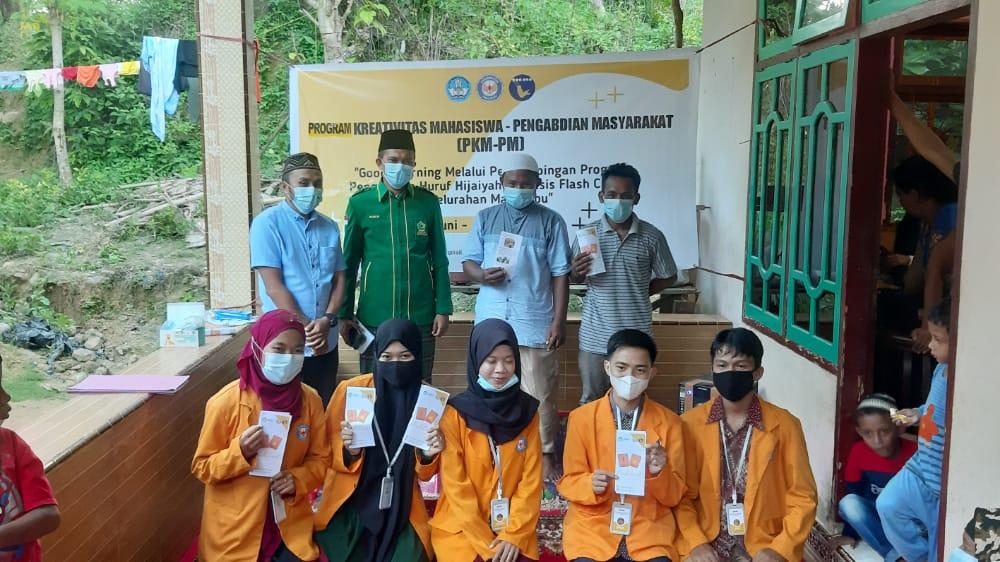 Kelompok Program Kreativitas Mahasiswa Pengabdian Masyarakat (PKM-PM) UHO beserta pengurus TPQ Kelurahan Matabubu. Foto: Yusrin/Kendariinfo. (7/6/2021).
