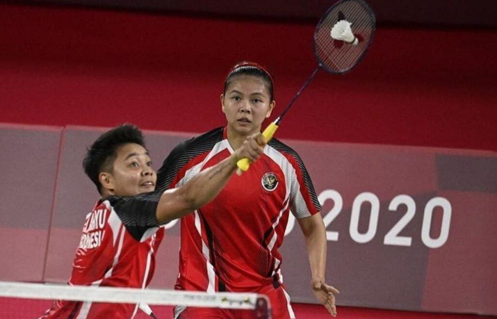 Pasangan ganda putri Indonesia, Greysia Polii dan Apriyani Rahayu di Olimpiade 2020.
